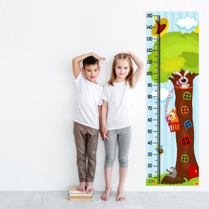 Cute Animal Tree Kids Height Chart Wall Decal