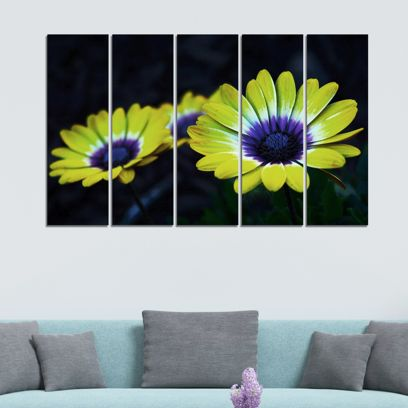 Floral Velvet Laminated Art Panels - Set of 5 Frames