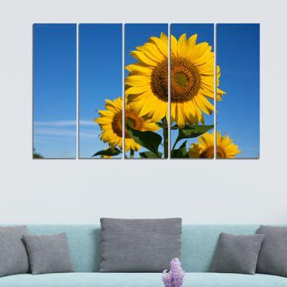 Sunflower Bloom Velvet Laminated Art Panels - Set of 5 Frames