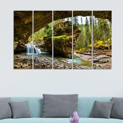 Waterfall In Mountains Velvet Laminated Art Panels - Set of 5 Frames