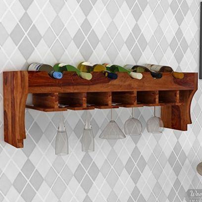 Wall Mount Wooden Wine Shelf Online @ Best Price
