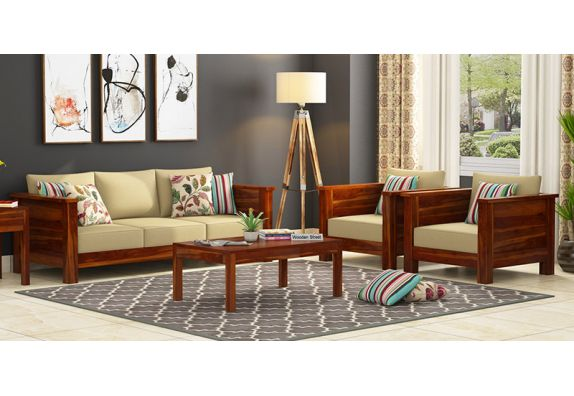 Agnes Wooden Sofa Set (Honey Finish)