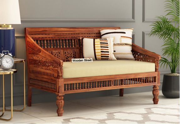 Alanis 2 Seater Wooden Sofa (Honey Finish)