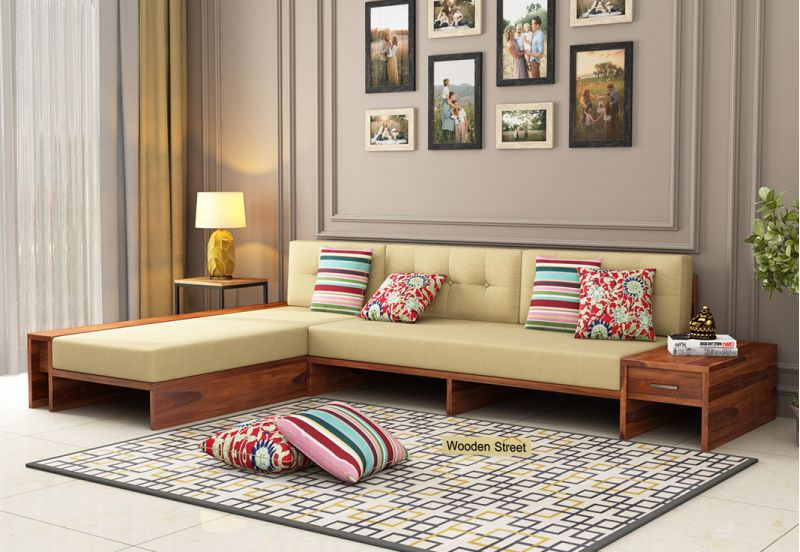 L Shaped Wooden Sofa with Storage