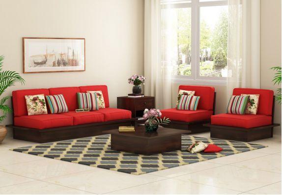 Dwayne Low Floor Wooden Sofa Set (Dusky Rose, Walnut Finish)