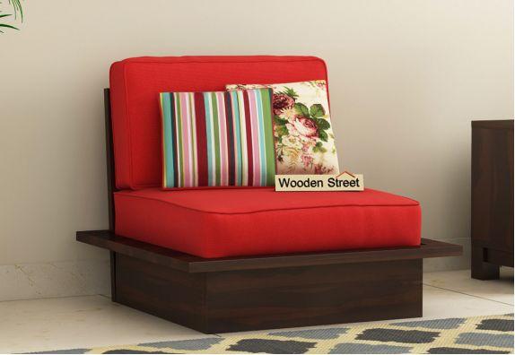 Dwayne 1 Seater Wooden Sofa (Dusky Rose, Walnut Finish)