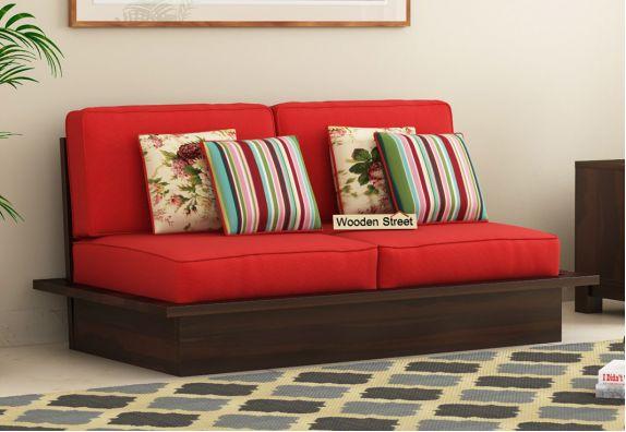Dwayne 2 Seater Wooden Sofa (Dusky Rose,  Walnut Finish)