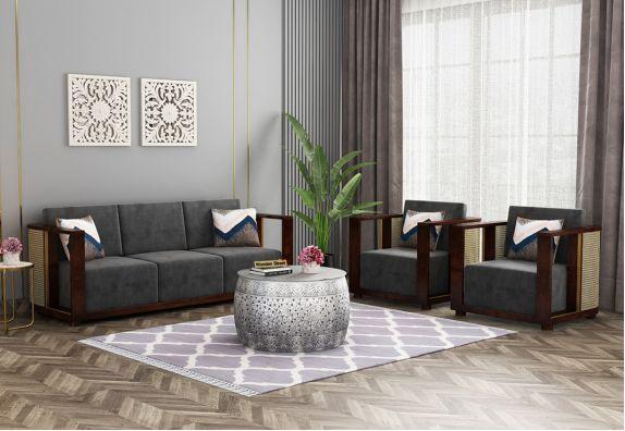Evelyn Wooden Sofa Set (Walnut Finish, Graphite Grey)