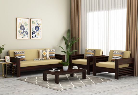 Feltro Wooden Sofa Set (Walnut Finish)