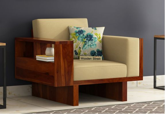 Lannister 1 Seater Wooden Sofa (Honey Finish)