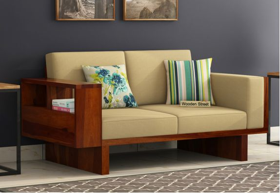 Lannister 2 Seater Wooden Sofa Set Cream