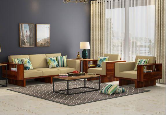 wooden sofa design: Lannister Wooden Sofa 3+1+1 Set