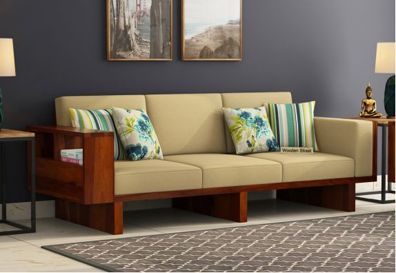 Lannister 3 Seater Wooden Sofa (Honey Finish)