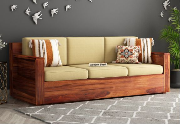 Marriott 3 Seater Wooden Sofa (Honey Finish)