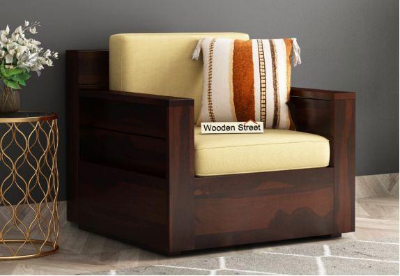 Marriott 1 Seater Wooden Sofa Walnut Finish