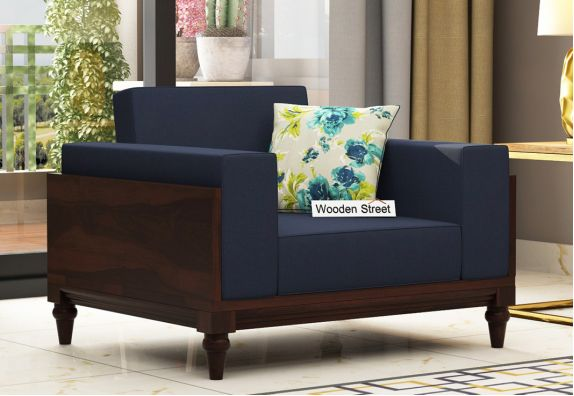 Messy 1 Seater Wooden Sofa (Walnut Finish)