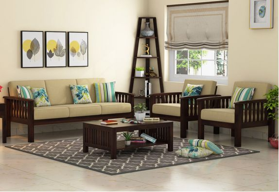 latest wooden sofa designs with price: Olympia Wooden Sofa 3+1+1 Set