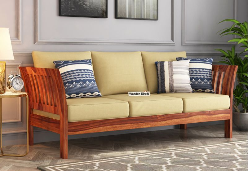 simple wooden sofa set 3 seater designs