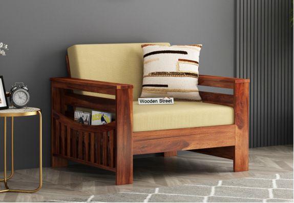 Sereta 1 Seater Wooden Sofa (Honey Finish)