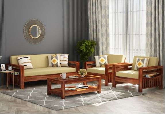 Sereta Wooden Sofa Set (Honey Finish)