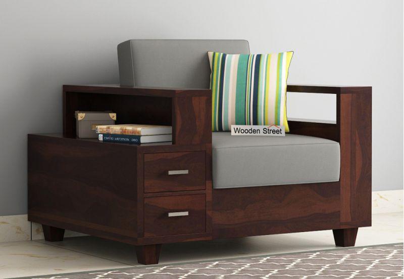 Solace 1 Seater Wooden Sofa (Walnut Finish)