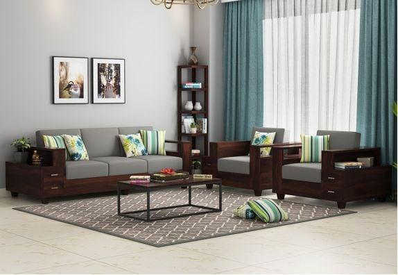 Solace Wooden Sofa Set (Walnut Finish)