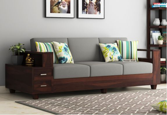 Solace 3 Seater Wooden Sofa (Walnut Finish)