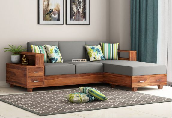 Wooden L Shape Couch Online in India