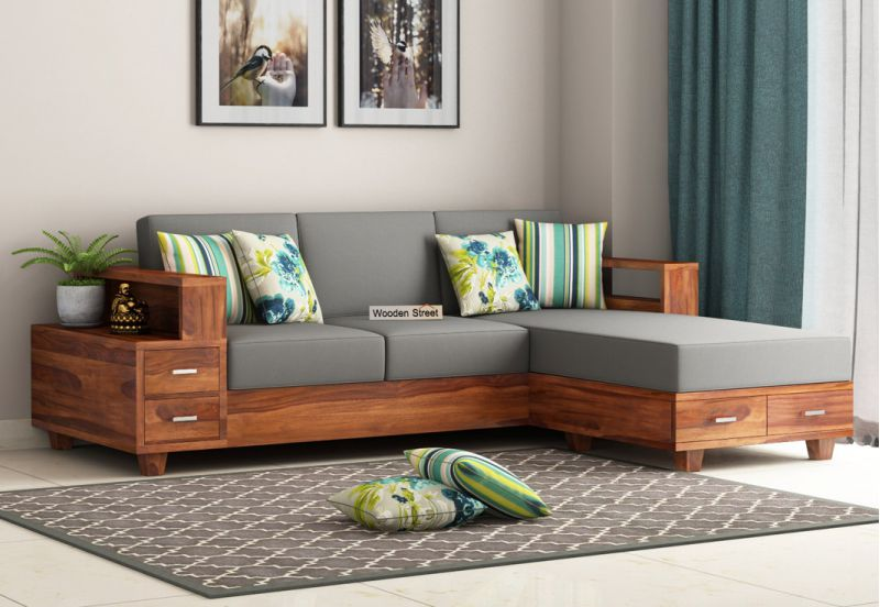 Wooden L Shape Couch Online in India, modern sofa designs online