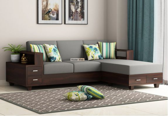 Wooden Couch Online in India: Solace Right L Shape Wooden Sofa (Walnut Finish)