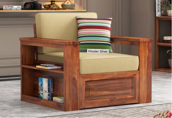 Wendel 1 Seater Sofa With Storage (Honey Finish)