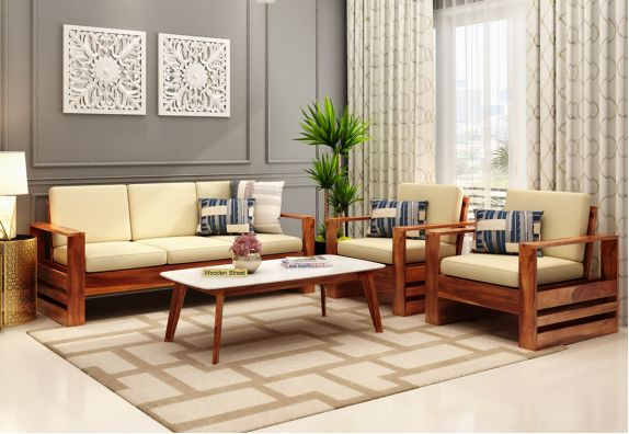 Sofa Set Design 2020: Winster Wooden Sofa Honey finish