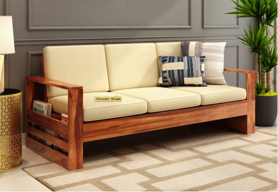 Winster 3 Seater Wooden Sofa Honey finish