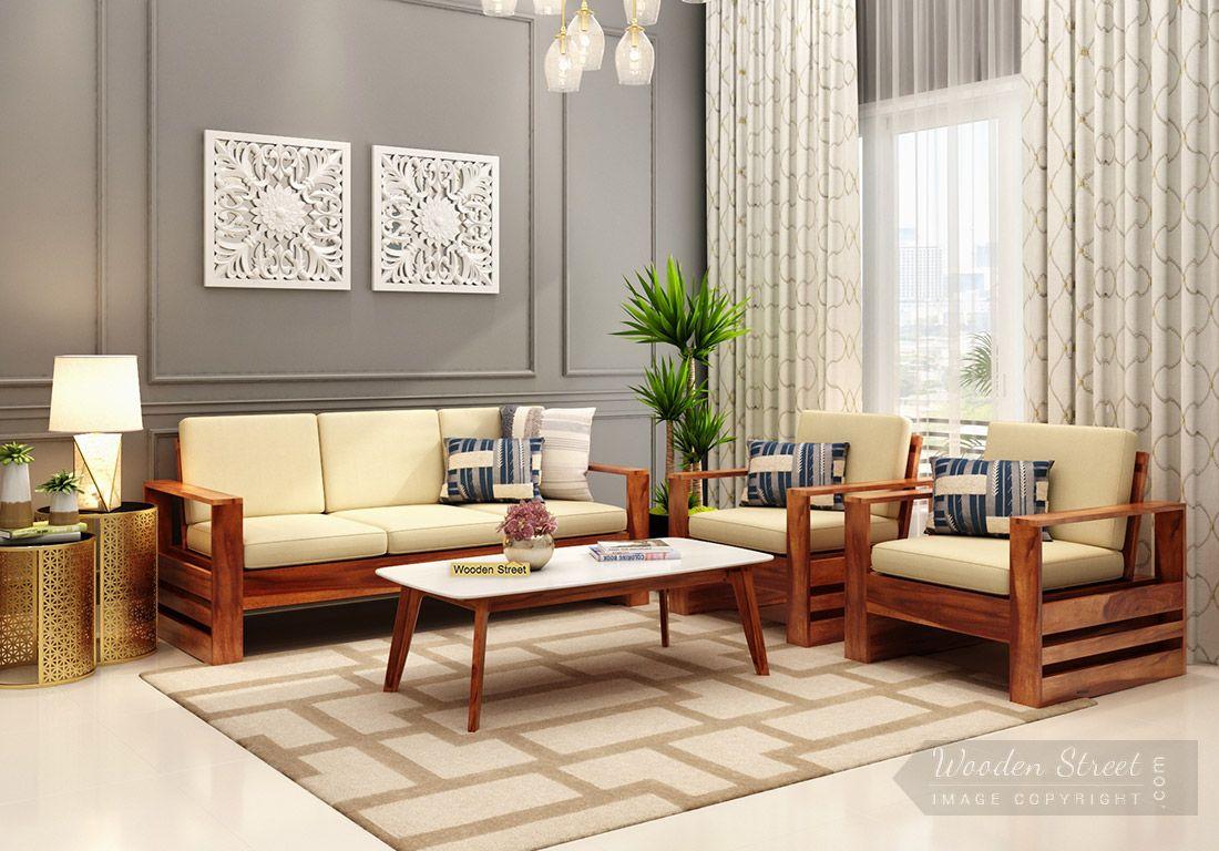 Buy Winster Wooden Sofa Set (Honey Finish) Online In India - Wooden Street