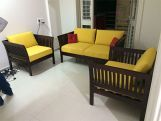 Review Raiden 3 Seater Wooden Sofa (Honey Finish)