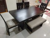 Review Wertex 6 Seater Dining Set with Bench (Honey Finish)