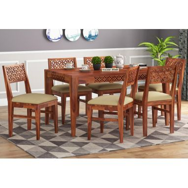 wooden 6 seater dining table set for sale online india