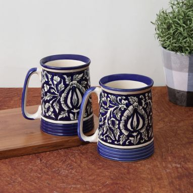 Blue Mughal Ceramic Beer Mugs - Set of 2
