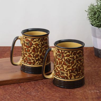 Brown Mughal Ceramic Beer Mugs - Set of 2