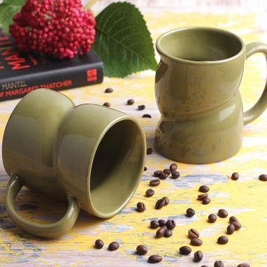 Green Ceramic Coffee Mugs - Set of 2