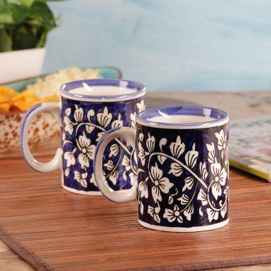 Hand Painted Blue Mughal Ceramic Coffee Mugs - Set of 2