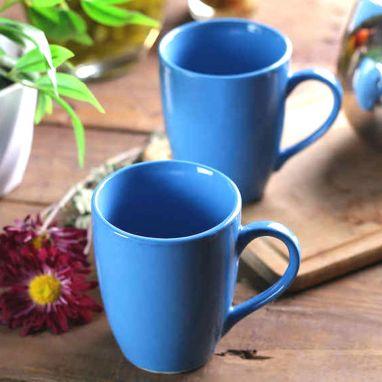 Turquoise Blue Ceramic Tea Mugs - Set of 2