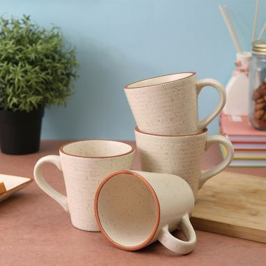 White Matt Brown Border Ceramic Coffee Cups -Set of 4