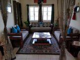 Review Vigo L-Shaped Wooden Sofa (Indigo Ink, Teak Finish)