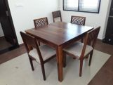Review Cambrey 4 Seater Dining Set (Walnut Finish)
