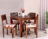 Review Cambrey 4 Seater Cushioned Dining Set (Honey Finish)