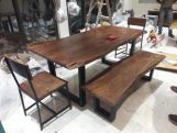 Review Live Edge 6 Seater Dining Set with Bench (Natural Finish)