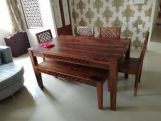 Review Cambrey 6 Seater Dining Set With Bench (Honey Finish)