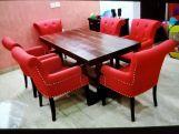 Review Redigo 6 Seater Dining Table Set (Honey Finish)