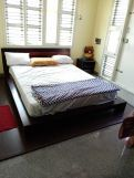 Review Melisandre Low Floor Double Bed (Queen Size, Honey Finish)